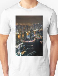 Photography of tall buildings, skyscrapers from Dubai at night. United Arab Emirates. Unisex T-Shirt