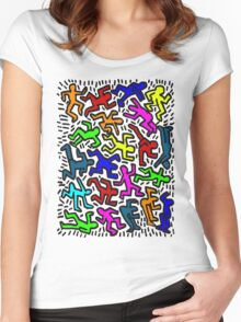 wall collour keith haring Women's Fitted Scoop T-Shirt
