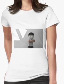 Sad Japanese man. Puppet head. Womens Fitted T-Shirt
