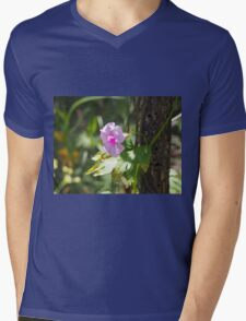 Pink Flower Mens V-Neck T-Shirt