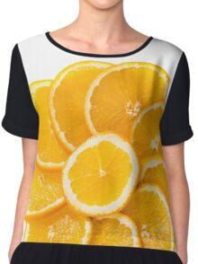 sliced oranges on a plate  Chiffon Top