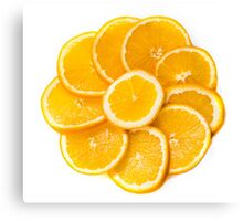 sliced oranges on a plate  Canvas Print