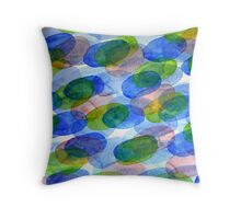 Green Blue Red Ovals Throw Pillow
