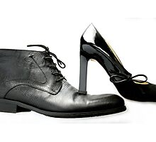 fashionable male and female shoes  Photographic Print