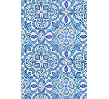 Cornflower Blue, Lilac & White Floral Pattern Photographic Print