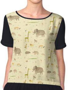 African Animals Chiffon Top