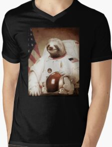 Spaceman Sloth Astronaut Mens V-Neck T-Shirt