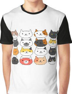 Neko Atsume Cute Pixel Cat Faces Graphic T-Shirt