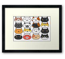 Neko Atsume Cute Pixel Cat Faces Framed Print