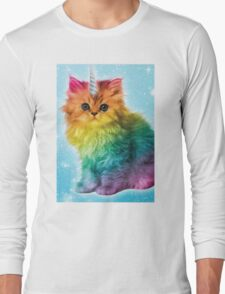 Unicorn Rainbow Cat Kitten Long Sleeve T-Shirt