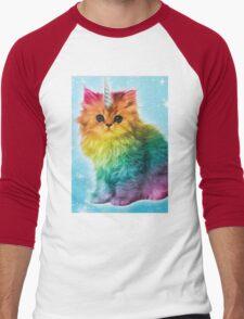 Unicorn Rainbow Cat Kitten Men's Baseball ¾ T-Shirt