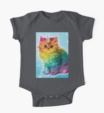 Unicorn Rainbow Cat Kitten One Piece - Short Sleeve