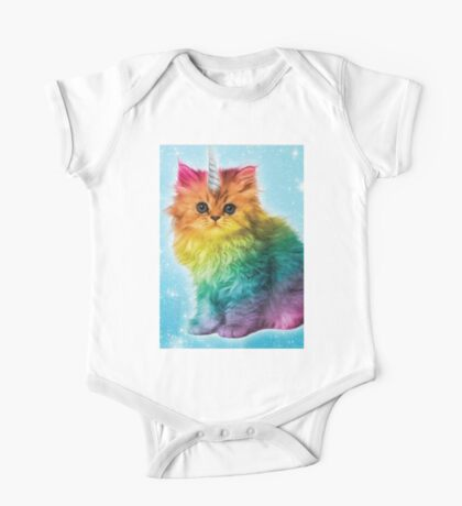 Unicorn Rainbow Cat Kitten One Piece - Short Sleeve
