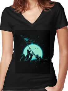 Freedom Cats Women's Fitted V-Neck T-Shirt