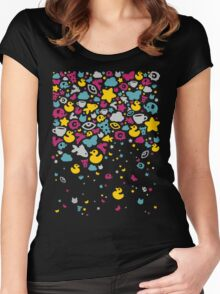 Toys falling like candies - black Women's Fitted Scoop T-Shirt