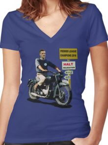 LEICESTER CITY FOOTBALL CLUB PREMIER LEAGUE CHAMPIONS 2016 JAMIE VARDY GREATESCAPE Women's Fitted V-Neck T-Shirt