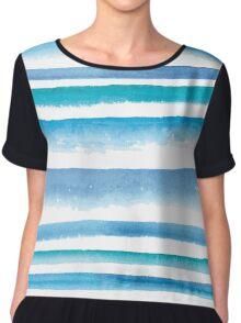 Blue watercolor stripes Chiffon Top