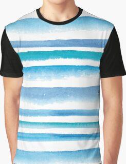 Blue watercolor stripes Graphic T-Shirt