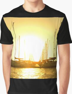 Golden sky over yachts Graphic T-Shirt