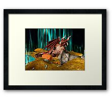 3D Illustration Dragon Treasure Framed Print