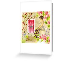 Vintage lady red pink green watercolor flowers Greeting Card