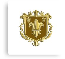 Fleur de lis Coat of Arms Gold Crest Retro Canvas Print