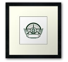 World War One Airman Biplane Circle Retro Framed Print