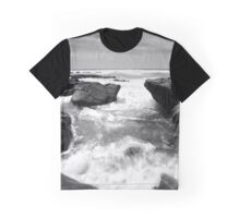 Black and White Beach Graphic T-Shirt