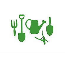 Green Garden Tools Photographic Print