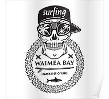 Surfing skull hawaii Poster
