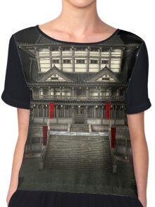 3D Illustration Japanese Temple Chiffon Top