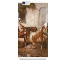 ADOLF SCHREYER  HORSES AT THE WELL, iPhone Case/Skin