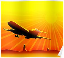 Plane taking off at sunset Poster