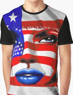 Usa Flag on Girl's Face Graphic T-Shirt