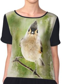 Tufted Titmouse Watercolor Art Chiffon Top