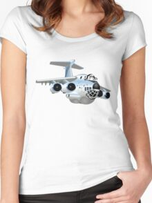 Cartoon Cargo Plane Women's Fitted Scoop T-Shirt
