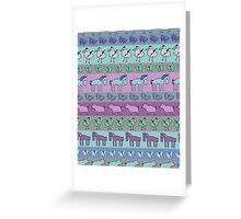 Strolling Striped Pigs and Ponies - Winter Greeting Card