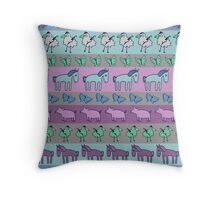 Strolling Striped Pigs and Ponies - Winter Throw Pillow
