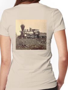 AMERICAN, STEAM, TRAIN, Central Pacific, Railroad, LOCOMOTIVE, IRON HORSE Womens Fitted T-Shirt
