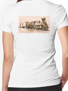 AMERICAN, STEAM, TRAIN, Central Pacific, Railroad, LOCOMOTIVE, IRON HORSE Women's Fitted V-Neck T-Shirt