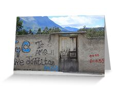 Door in Graffiti Covered Wall Greeting Card