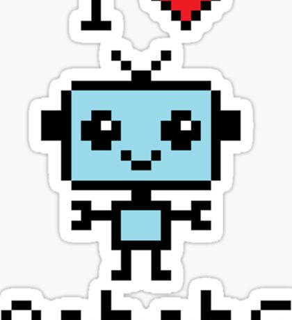 8-bit I love robots <3 Sticker