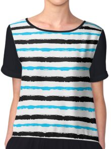 Painted Striped Blue Black Pattern Chiffon Top