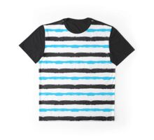 Painted Striped Blue Black Pattern Graphic T-Shirt