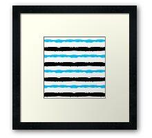 Painted Striped Blue Black Pattern Framed Print