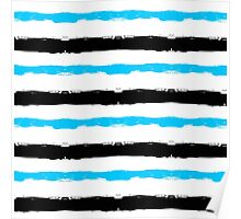 Painted Striped Blue Black Pattern Poster