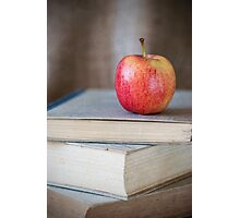 Apple On Books 1 Photographic Print