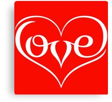 Love (02 - White on Red) Canvas Print