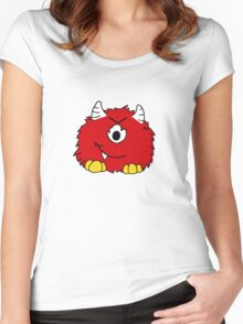 Fuzzy Little Monsters - Red Women's Fitted Scoop T-Shirt