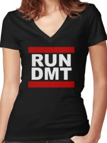RUN DMT Women's Fitted V-Neck T-Shirt